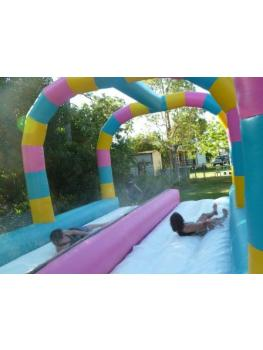 Waterslide Duel Lane Rear shot with 2 girls sliding4
