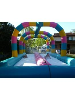 Waterslide Duel Lane Rear shot with 2 girls sliding5
